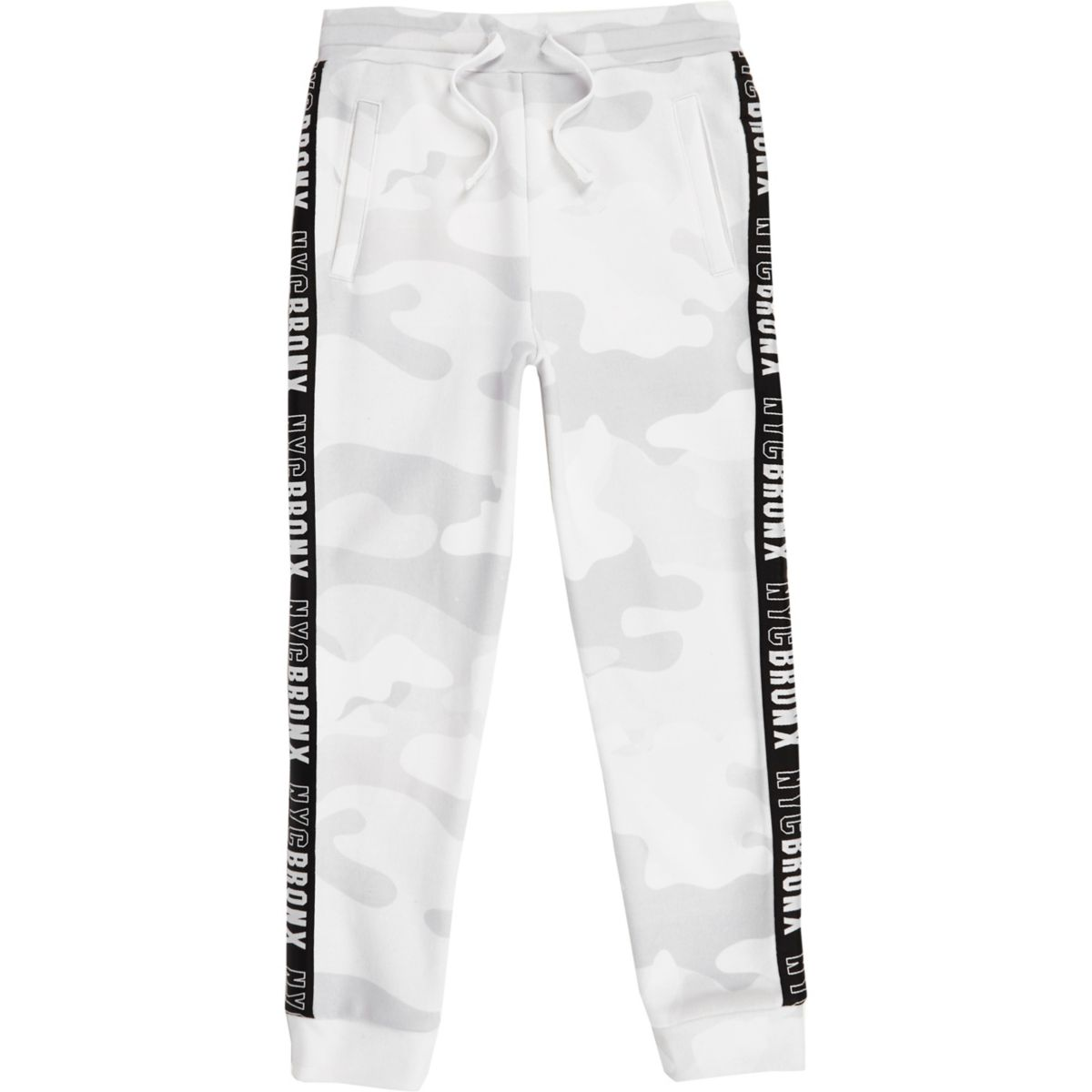 Boys white camo side tape joggers