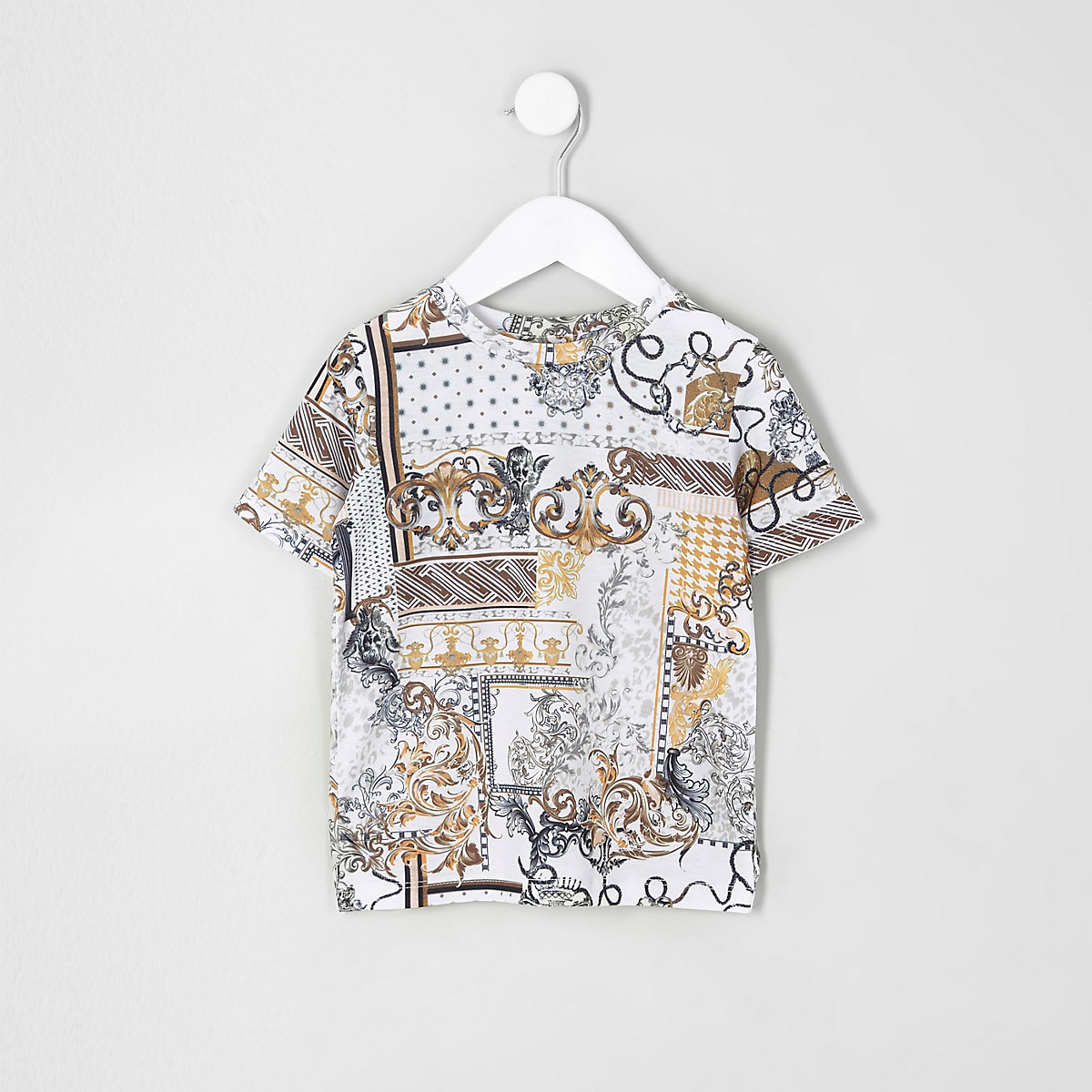 T-shirt imprimé baroque blanc mini garçon