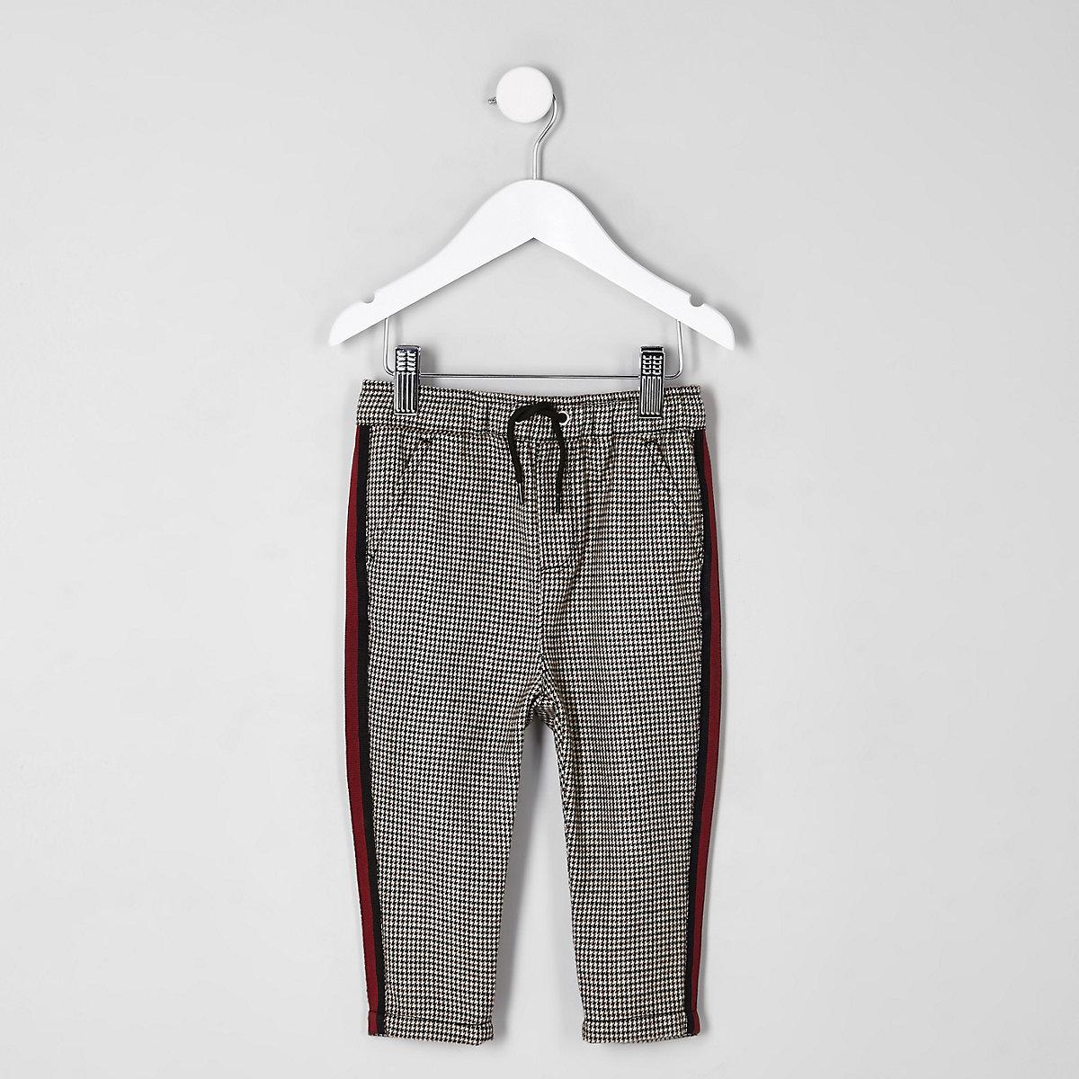 Mini boys check tape trousers