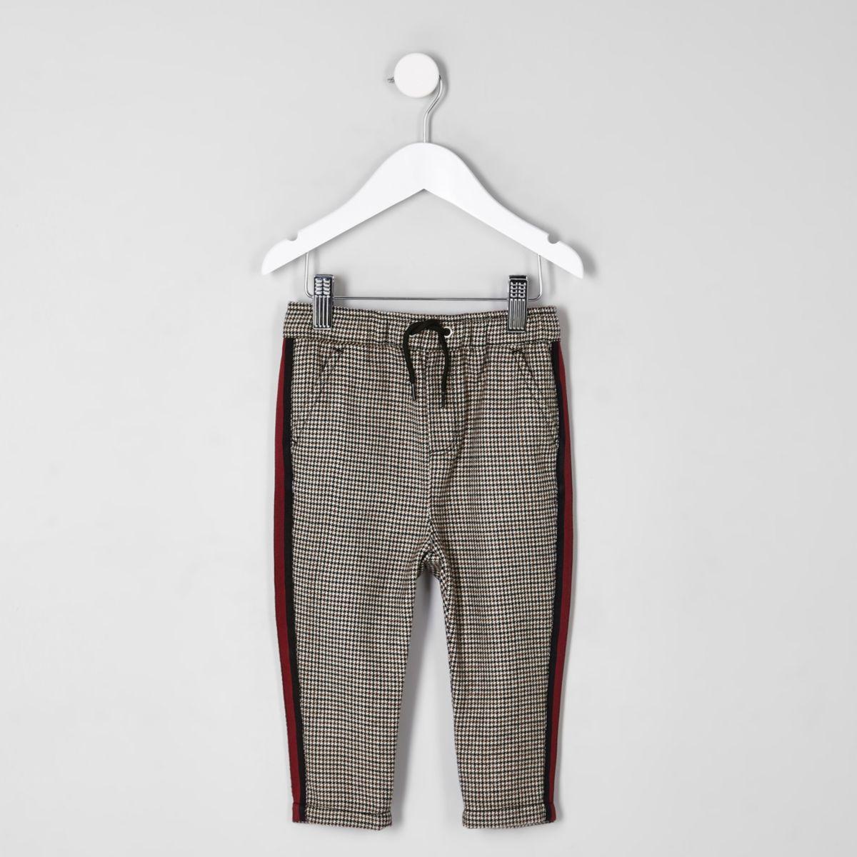 Mini - Geruite broek met biezen voor jongens
