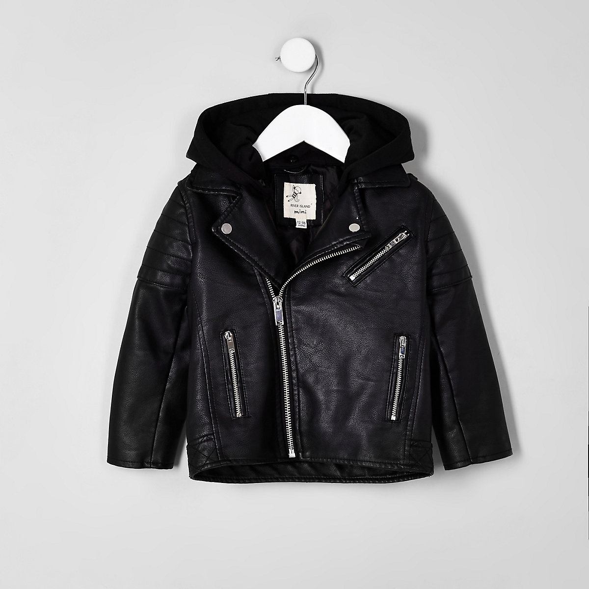 Mini boys faux leather hooded jacket