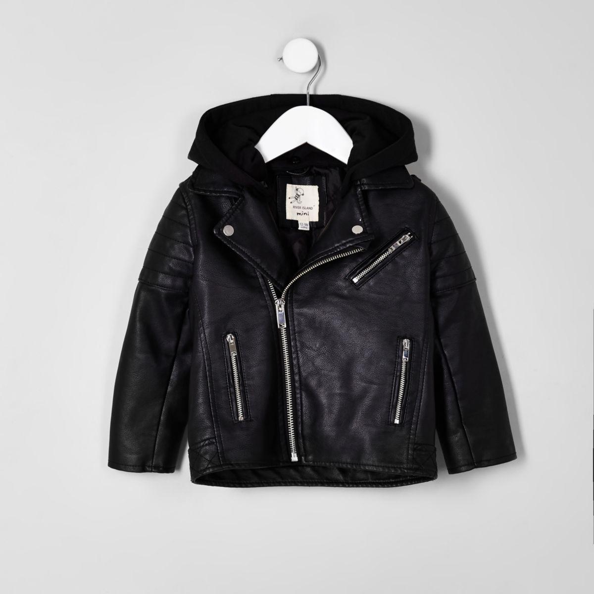 Mini boys faux leather hooded jacket