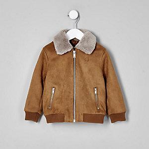 Mini boys brown suedette Borg bomber jacket