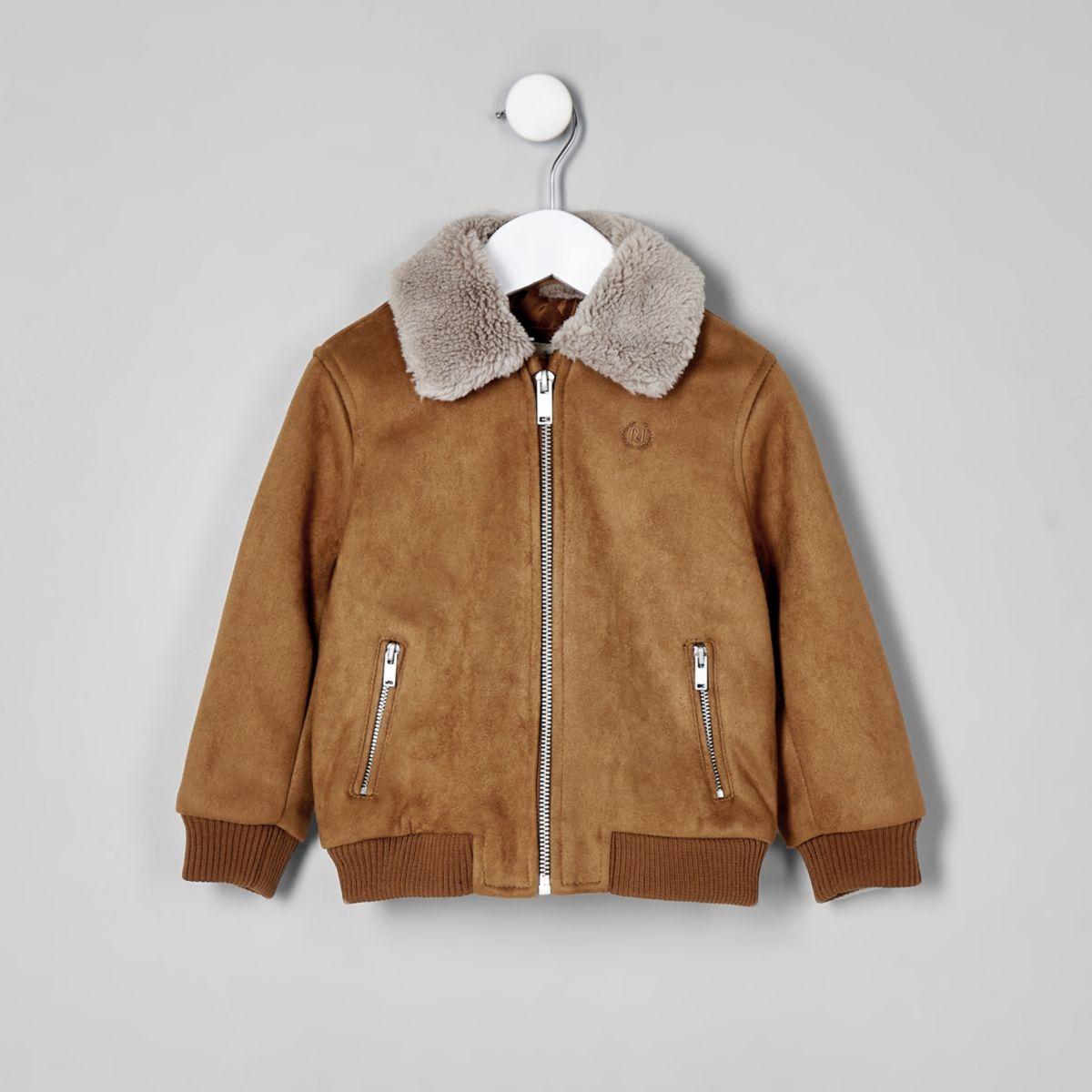 Mini boys brown suedette Fleece bomber jacket