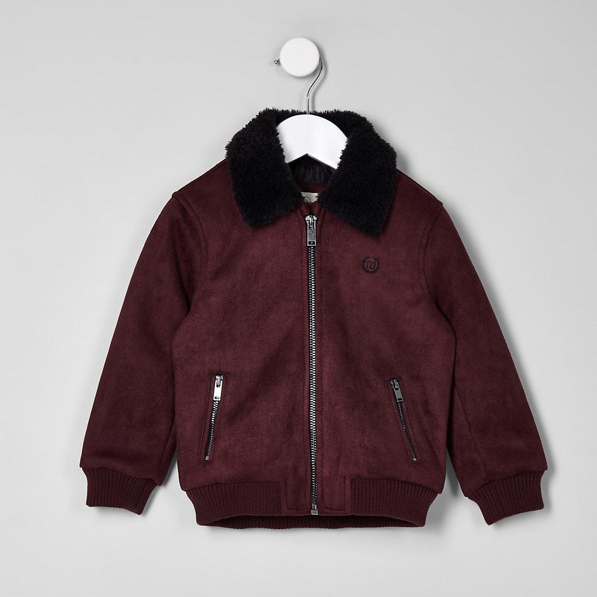 Mini boys red suedette borg bomber jacket