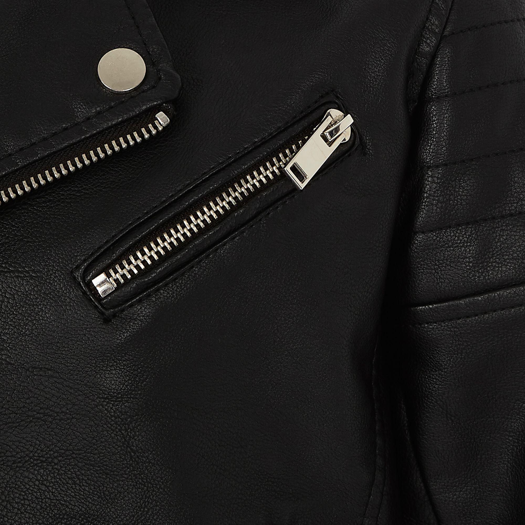 6eec2c20d8af River Island Boys black faux leather hooded jacket at £35