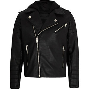 Boys black faux leather hooded jacket