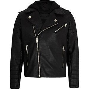 Veste à capuche en cuir synthétique noire pour garçon