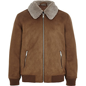 Boys brown suedette Borg collar bomber jacket