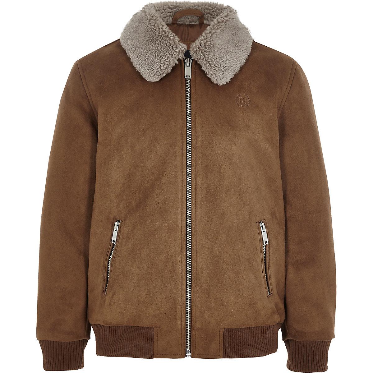 Boys brown suedette Fleece collar bomber jacket