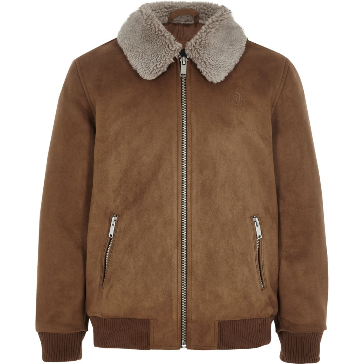 Boys brown suedette Borg collar bomber jacket