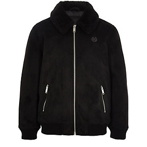 Boys black suedette Borg collar bomber jacket