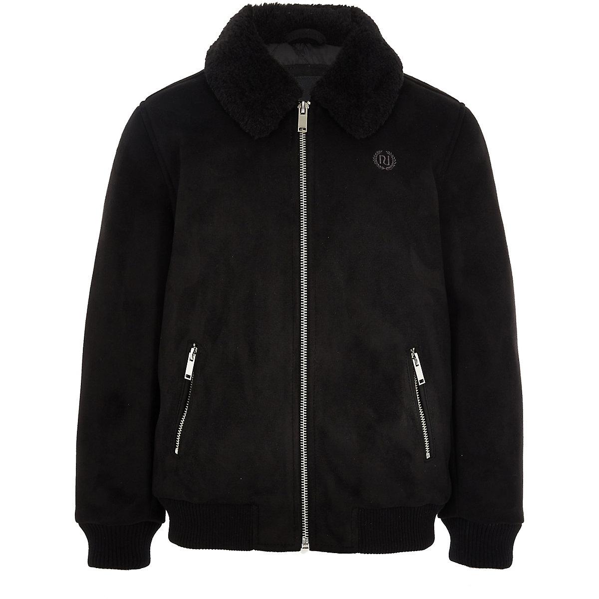 Boys black suedette Fleece collar bomber jacket