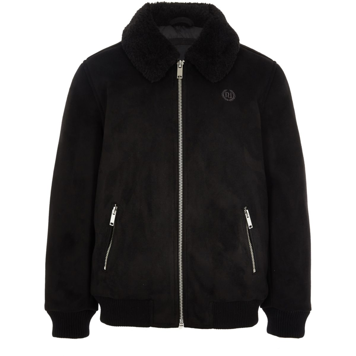 Boys black suedette Fleece collar bomber jacket