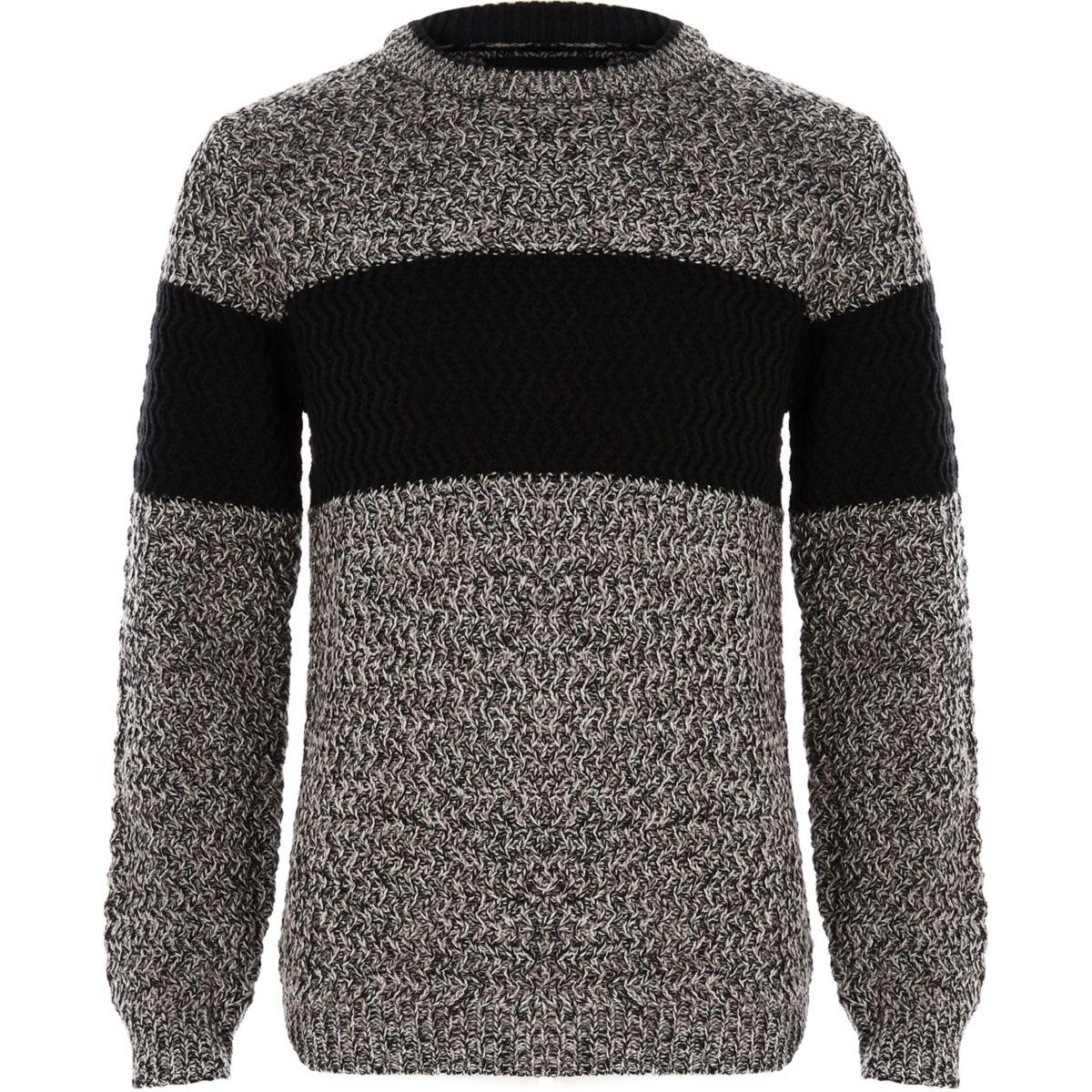 Boys grey block colour jumper