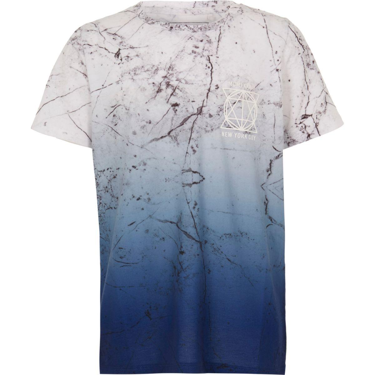 Boys grey marble crackle print T-shirt