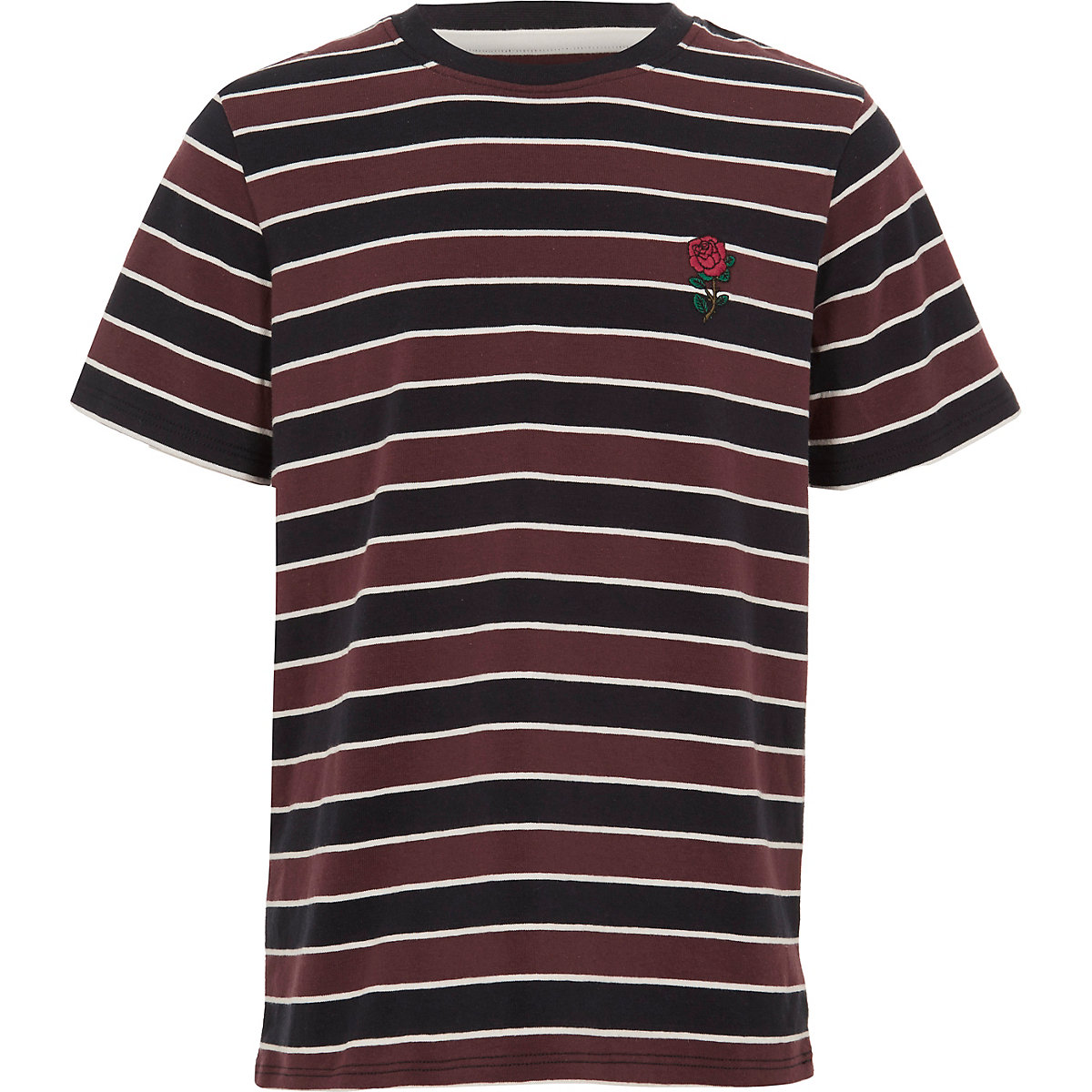 Boys red stripe rose embroidered T-shirt