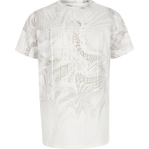 Boys white 'Los Angeles' embossed T-shirt