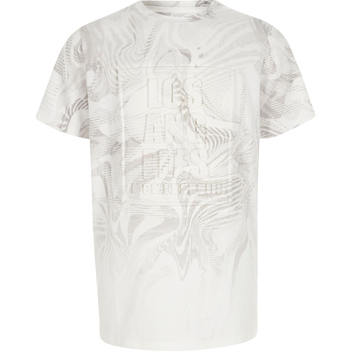 Boys white 'Los Angeles' embossed T-shirt