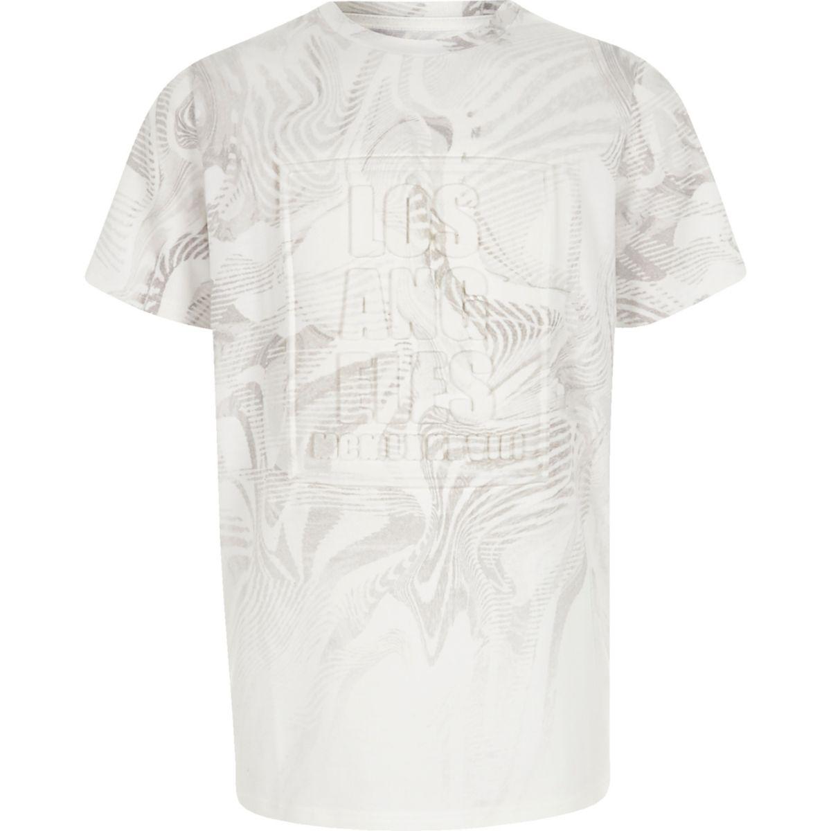 T-shirt blanc motif «Los Angeles» en relief pour garçon