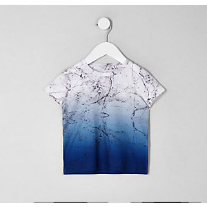Mini boys 'Dude' marble fade T-shirt