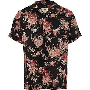 Zwart overhemd met bloemenprint en korte mouwen voor jongens
