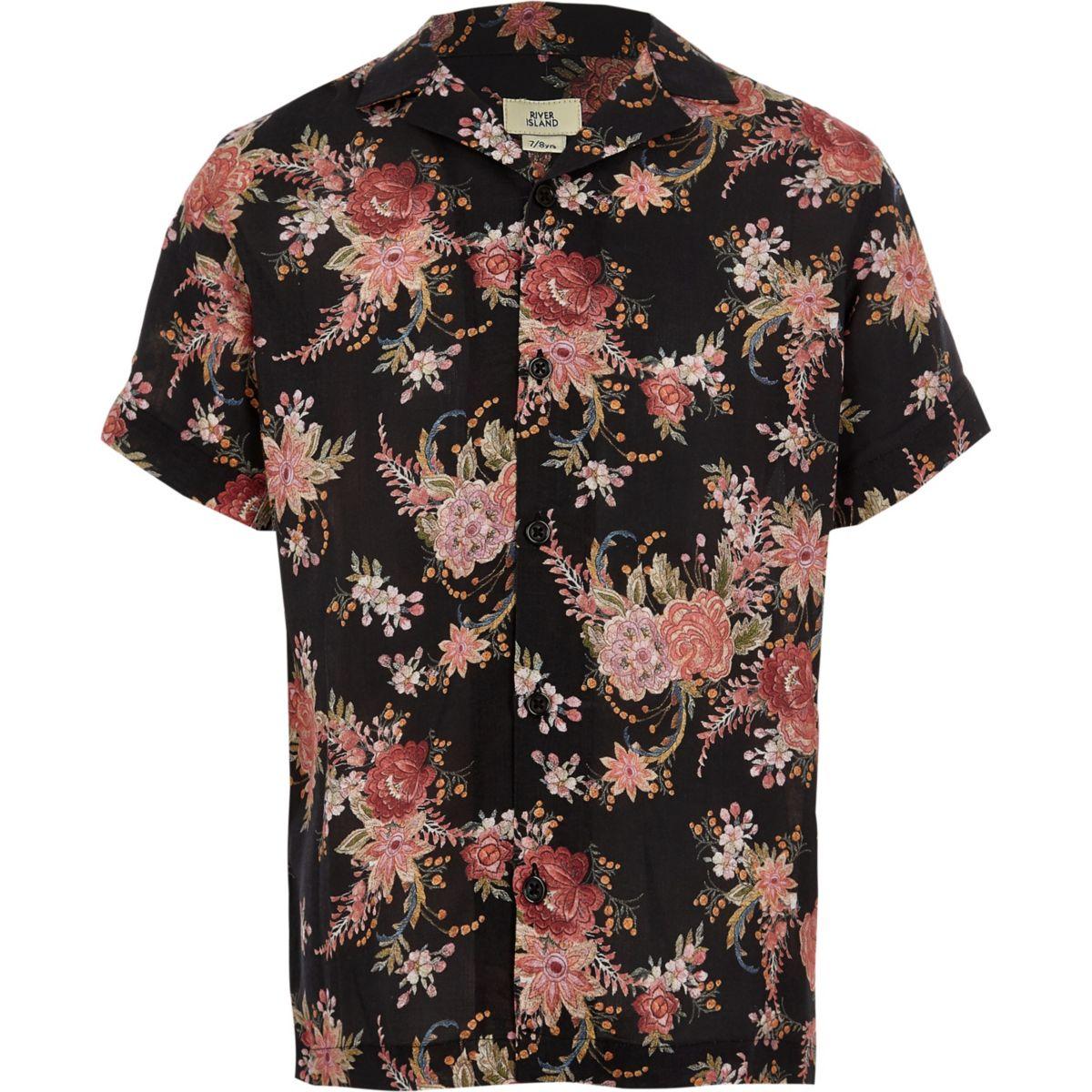 Boys black floral short sleeve shirt