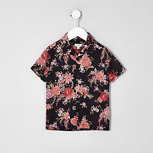 Mini boys black floral short sleeve shirt