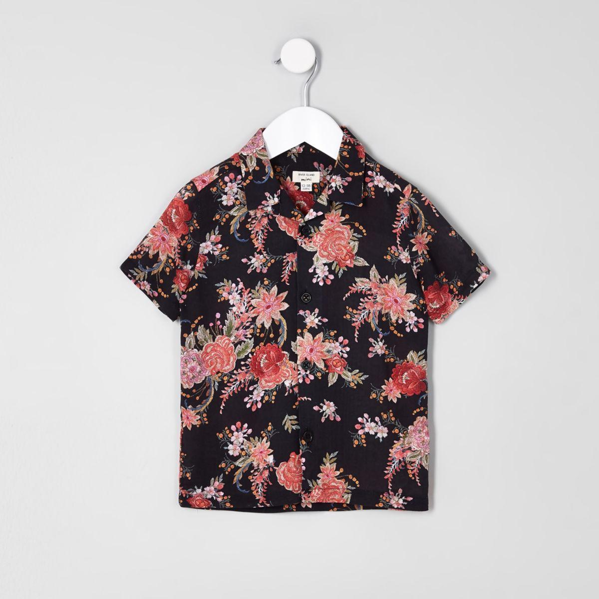 Mini boys black floral short sleeve shirt