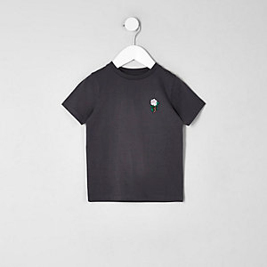 Mini boys dark grey rose embroidered T-shirt