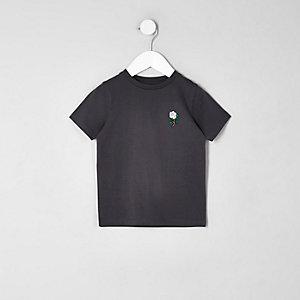 T-shirt gris foncé à rose brodée mini garçon