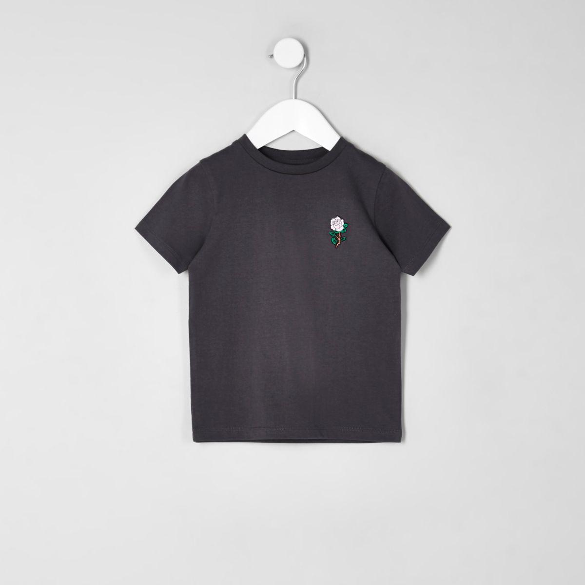 Mini boys dark grey rose embroidered T-shirt