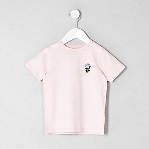 Pinkes T-Shirt mit Rosenstickerei