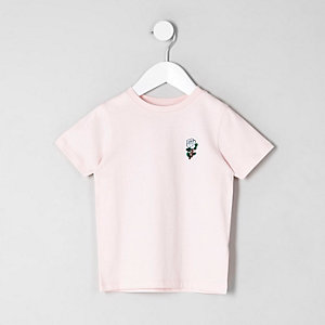 T-shirt rose avec rose brodée mini enfant
