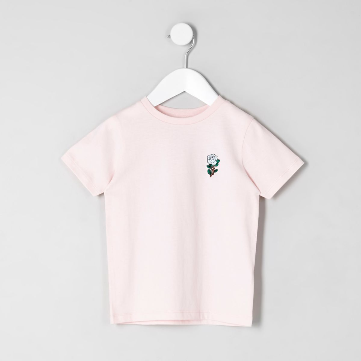Mini boys pink rose embroidered T-shirt