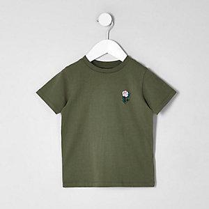 T-shirt kaki à roses brodées mini garçon