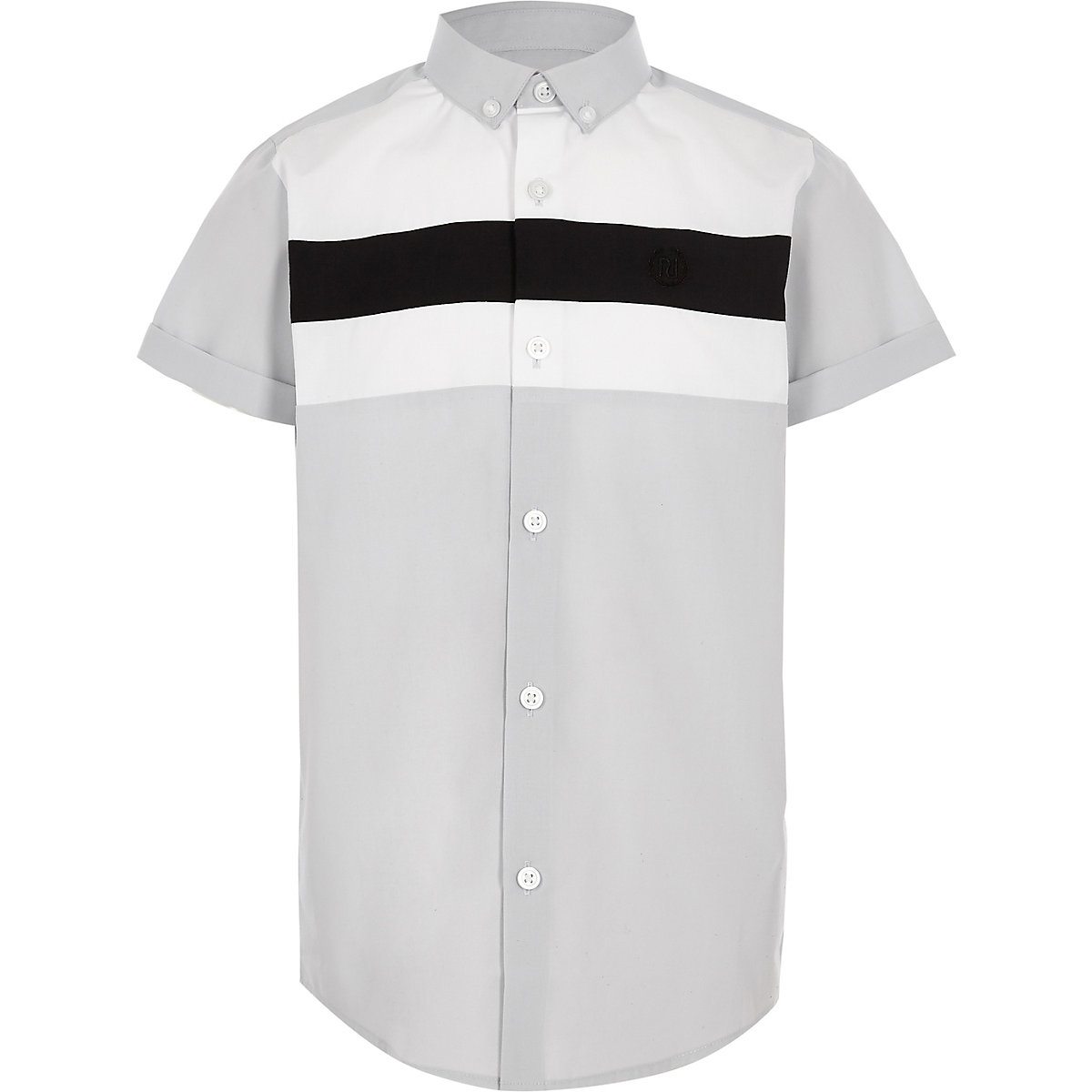 Boys grey short sleeve contrast shirt