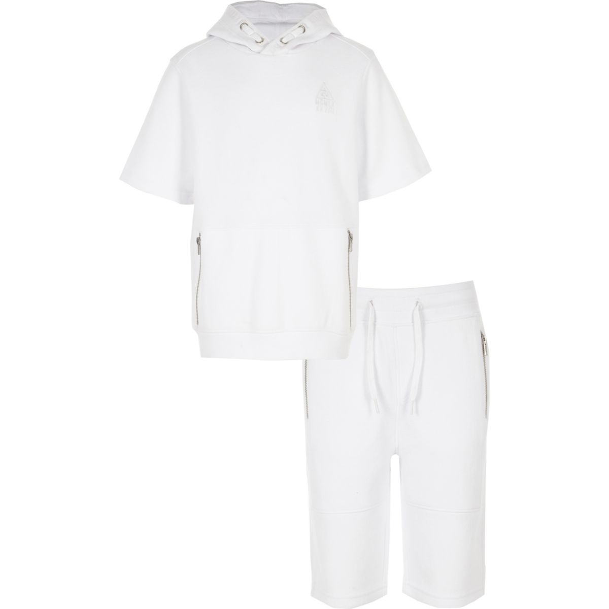Boys white hoodie and shorts outfit