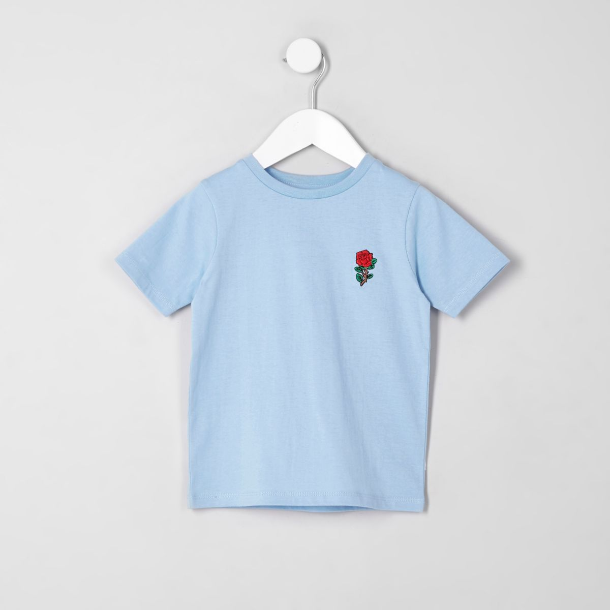 Mini boys blue rose chest embroidery T-shirt