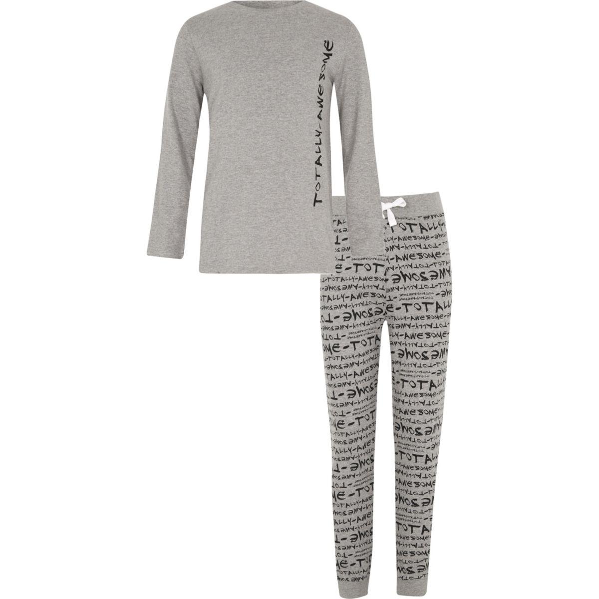 Boys grey 'totally awesome' print pyjama set