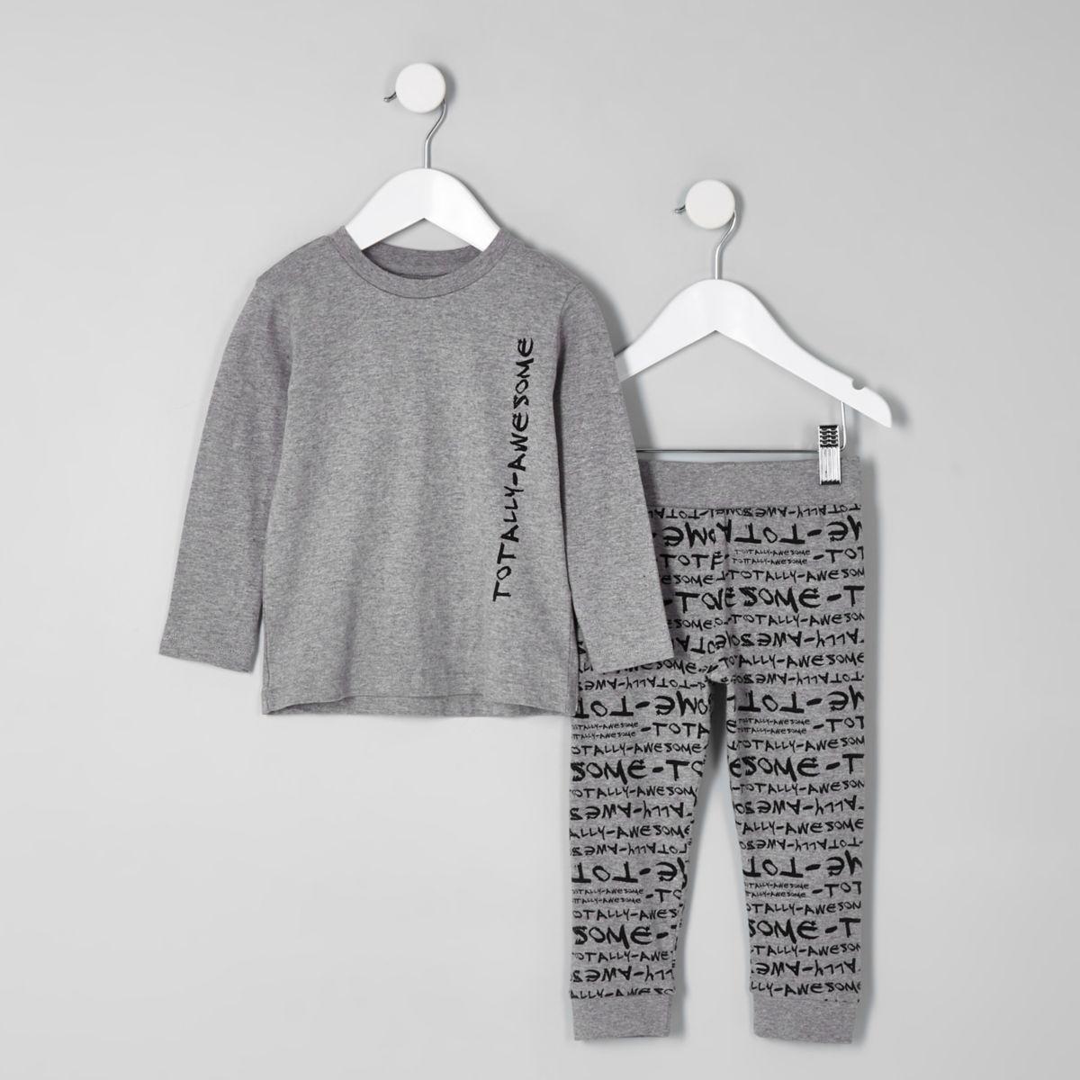 Ensemble de pyjama à imprimé « Totally awesome » gris mini garçon