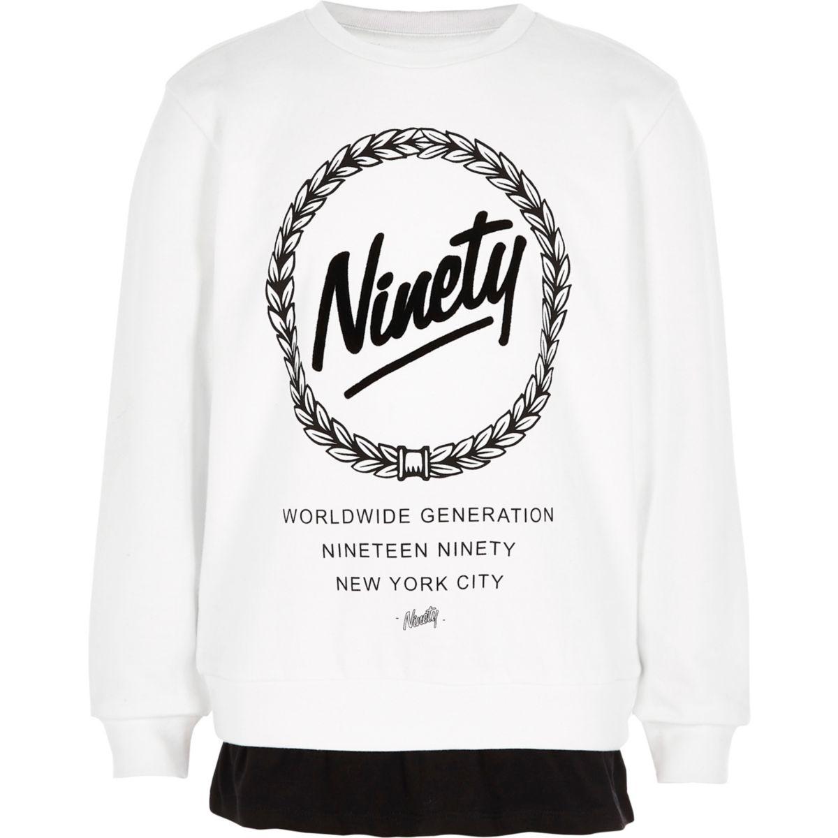Boys white 'ninety' double layer sweatshirt