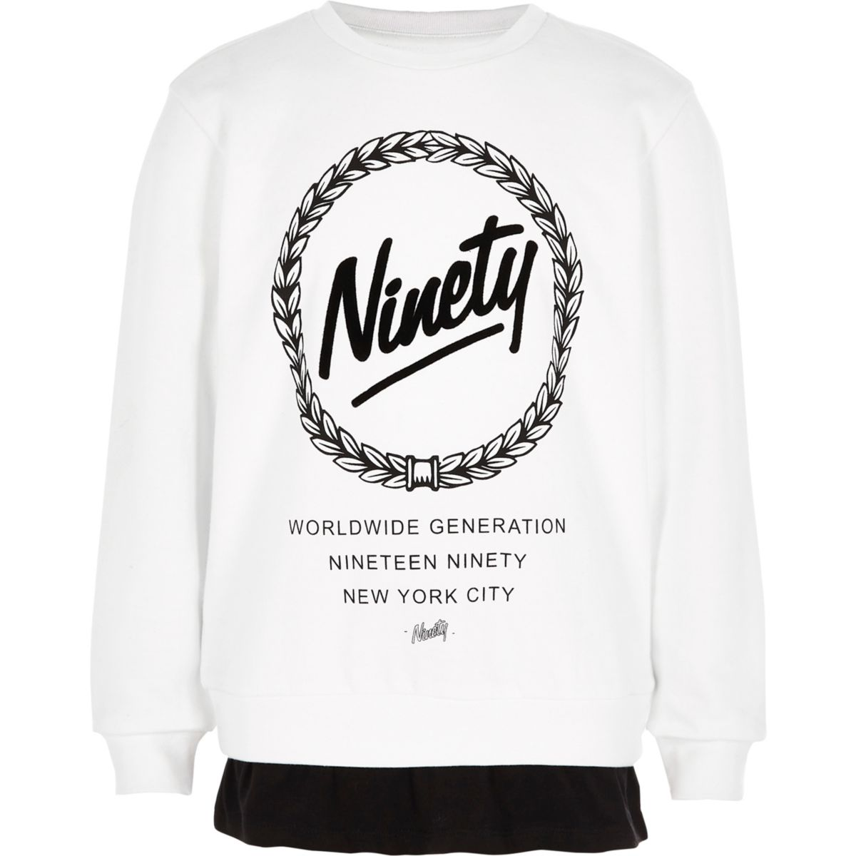 Boys white 'ninety' double layer sweatshirt