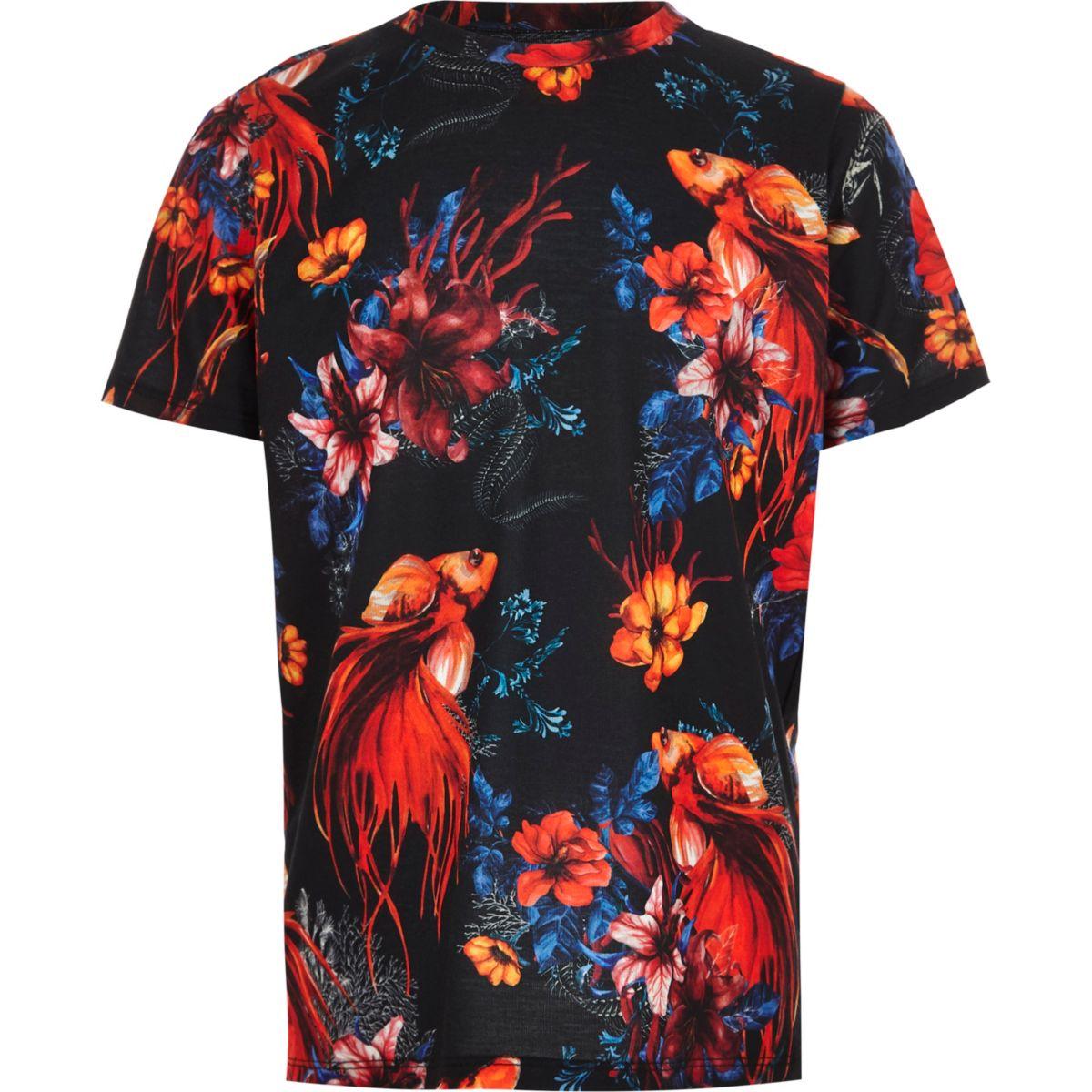 Boys navy tropical print T-shirt