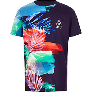 Paars T-shirt met bloemenprint en kleurverloop voor jongens