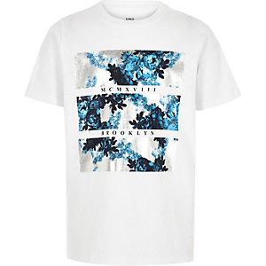 Boys white floral foil print T-shirt