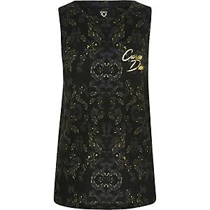 Kaki hemdje met blad- en 'carpe diem'-print voor jongens