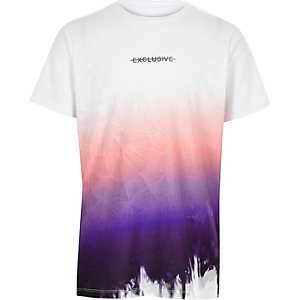 Boys white 'exclusive' fade print T-shirt