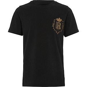 T-shirt slim noir à écusson pour garçon