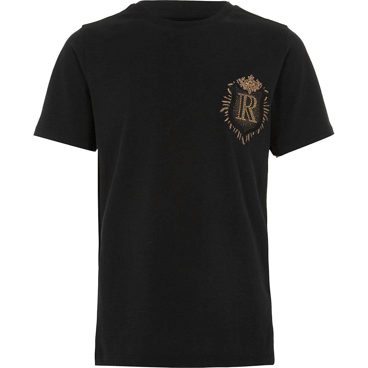 Boys black badge detail slim fit T-shirt